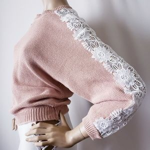 Listicle Blush/Beige & White Lace Dolman Sweater